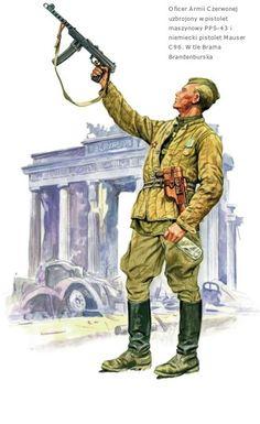 ARMATA ROSSA - Ufficiale festeggia davanti alla Porta di Brandeburgo a Berlino. Armato con mitra PPS-43 e Pistola Mauser C96 con fodera in legno sottratta al nemico.