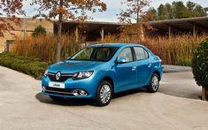 Download wallpapers Renault Logan, 2017, compact sedan, new blue Logan, French cars, RU-spec, Renault