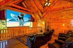 Swimming in the Smokeys Private Home Theater, located on the upper level of this amazing cabin.