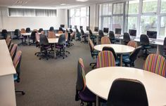 St Francis School's IT Suite to seat 40 students. Designed, manufactured and installed by Incube Ltd. Classroom Design, St Francis, Funky Furniture, Learning Environments, Secondary School, Students, Nursery, Layout, Home Decor