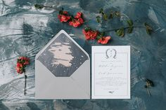 Wedding invitation on textured paper, hand drawn wreath, calligraphy fonts, envelope liner. Simple and true. Wedding Invitation Design, Wedding Stationery, Wreath Drawing, Envelope Liners, Calligraphy Fonts, Wax Seals, Personalized Wedding, Paper Texture