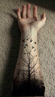 57 Ideas Tattoo Tree Sleeve Dark For 2019 Hand Tattoos, Bird Tattoos Arm, Forearm Tattoos, Arm Band Tattoo, Body Art Tattoos, Bird Hand Tattoo, Tatoos, Tree Sleeve Tattoo, Nature Tattoo Sleeve
