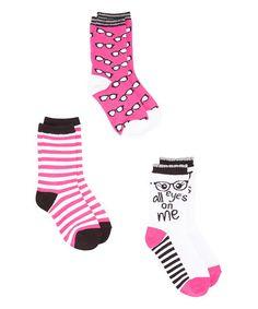 Fuchsia All Eyes On Me Three-Pair Crew Socks Set #zulily #zulilyfinds