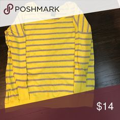 Selling this Fun yellow and gray striped sweater on Poshmark! My username is: ryaliv13. #shopmycloset #poshmark #fashion #shopping #style #forsale #Moda International #Sweaters