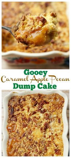 This gooey Caramel Apple Dump Cake Recipe with delicious pecans is light on ingredients but big on flavor! This easy dessert recipe will be the only apple recipe you need all fall long! Mini Desserts, Apple Desserts, Apple Recipes, Easy Desserts, Delicious Desserts, Fall Recipes, Baking Desserts, Health Desserts, Christmas Recipes