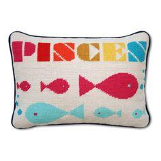 Pisces Zodiac Needlepoint Throw Pillow - Jonathan Adler