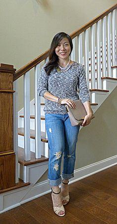 #oldnavy sweater #jcrew jeans bag #anthropologie necklace #vincecamuto shoes