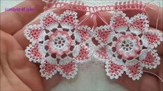 Crochet lace design different easy to make a wonderful towel edge Crochet Motifs, Crochet Doilies, Crochet Flowers, Crochet Patterns, Beau Crochet, Hand Crochet, Crochet Baby, Crochet Videos, Lace Making