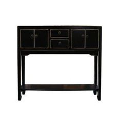 Chinese Black Lacquer Elm Wood Console Table