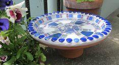 Unique mosaic birdbath for the garden 35cm by handmadebyhippo