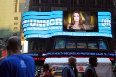 #UNHCR Special Envoy #Angelina Jolie's PSA ran in Times Square in New York on World Refugee Day 2012.  UNHCR / B. Penner / 20 June 2012