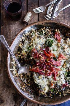 Harissa, Broccoli, Spinach, Wild Rice Casserole with Crispy Prosciutto | halfbakedharvest.com @hbharvest