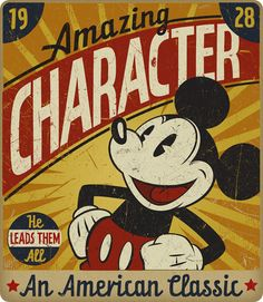 """Vintage-inspired tribute to Mickey Mouse, """"An American Classic"""" by Jason Rapert. http://www.behance.net/gallery/Various-Disney-Projects/318272"""