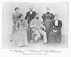 Missionaries in Damoh, India. Mrs. McGavran. J.G. McGavran. Miss Stella Franklin. Mrs. Rambo. W.E. Rambo. Miss Josepha Franklin./(ダモーにおける宣教師,インド.マクギャヴラン夫人.J.G.マクギャヴラン.ステラ・フランクリン嬢.ランボー夫人.W.E.ランボー.ジョシーファ・フランクリン嬢)