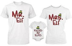 Daddy Mommy and Baby Matching Christmas Elf Family T-Shirt and Onesie Set - Mom_Exta Large