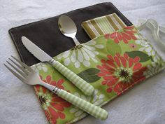 i've got an idea for a version of these…sure wish that i could sew!  Lunch bag cutlery rolls