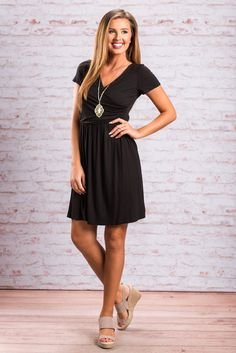"""Keeping It Classic Dress, Black""This dress is perfectly classic! It's silhouette is so flattering! The surplice neckline is also a very flattering feature! #newarrivals #shopthemint"