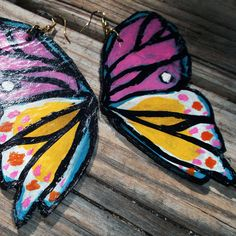 Hand Painted, Leather, Butterfly Earrings - Rehcy by Anna Maria Spring 2012- Pink, Unique, Beautiful, perfect for Springtime. $32.00, via Etsy.