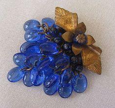 Miriam Haskell Cobalt Blue Glass Bead Brooch found at www.rubylane.com