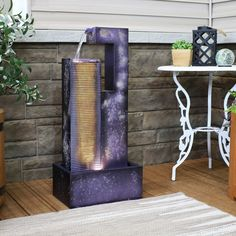 Waterfall Sounds, Tabletop Water Fountain, Tower Garden, Thing 1, Garden Fountains, Geometric Lines, Outdoor Fire, Ladder Decor, Basin