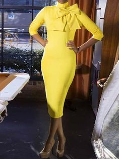KMills Collection Signature Bow Dress - Kenya Mills StylistGorgeous yellow dress against melanin Cute Dresses, Beautiful Dresses, Cute Outfits, Dressy Dresses, Dress Casual, Trendy Outfits, Dress With Bow, Dress Up, Look Fashion