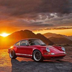 Sports car in the sunset.
