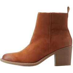 Charlotte Russe Stacked Heel Ankle Booties ($20) ❤ liked on Polyvore featuring shoes, boots, ankle booties, rust, side zip boots, stacked heel booties, zipper ankle boots, ankle boots and pointy toe booties