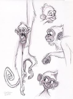 The Ol' Sketchbook: Monkeys – Animation ideas Cartoon Sketches, Animal Sketches, Animal Drawings, Cute Drawings, Drawing Sketches, Pencil Drawings, Monkey Illustration, Monkey Art, Character Drawing