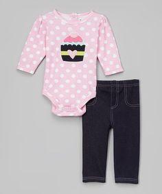 Look at this #zulilyfind! Babyworks Pink Polka Dot Cupcake Bodysuit & Navy Pants by Babyworks #zulilyfinds