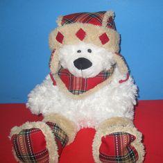 Hugfun Intl Plush Toy White TEDDY BEAR with Plaid Cap & Scarf, size 18\