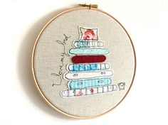 "Embroidery Hoop Art - 'I love my bed' Textile Artwork in turquoise & red - 8"" hoop on Etsy, $40.51"