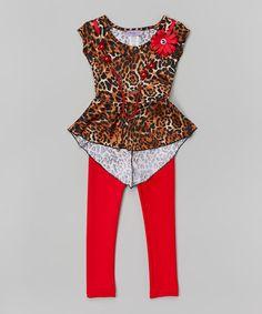 Look what I found on #zulily! Brown Leopard Tunic & Leggings - Girls by Maya Fashion #zulilyfinds