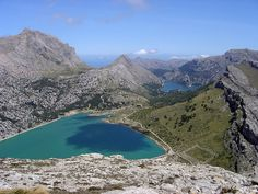 Lake Cuber is an amazing sight on the  descent of Puig Major [highest peak on the island] running down the MA-10 towards [the even more impressive] Sa Colabra, Mallorca,   Spain.  THEBIKESHED-Tetbury.net