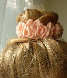 Pink Crochet Hair Scrunchies, Gift idea, Crochet Hair Accessories, Hair Scrunchies