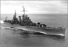 Chile; Light Cruiser O'Higgins(CL-02) off Valpariso on 10th September 1951. The former USN light cruiser USS Brooklyn(CL-40). Commissioned into the Chilean Navy on 09/01/51 & decommissioned 14/01/92. Sank on 03/11/92 whilst being towed to India for scrapping.