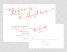 Coral Pink Wedding Invitation  Script Coral by Whimsicalprints
