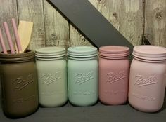 Shabby Chic Mason Jar Canister Set by RusticUp on Etsy