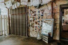 Photo Booth Backdrop, Wooden Crate, Brown Grafter, Large Blue Vase, Peace Flags P. Peace Flag, Photo Booth Backdrop, Texas Hill Country, Tree Lighting, Twinkle Lights, Crate, Flags, Backdrops, Wedding Venues
