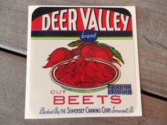 Vintage Can Label Note Card-Deer Valley Beets by Lemon Drops & Lilacs on etsy.com