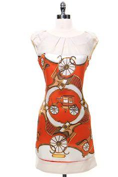 Orange & Ivory On the Road Again Graphic Print Dress