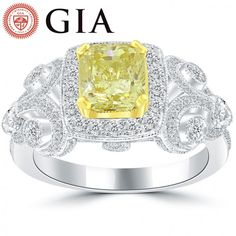 3.07 Ct. GIA Certified Natural Fancy Yellow Cushion Cut Diamond Engagement Ring - Yellow Diamond Rings - Color Rings
