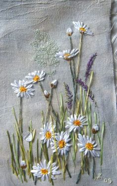 Ribbon embroidery daisies and lavender