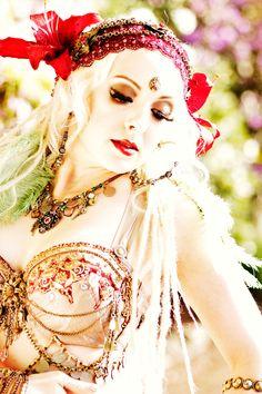 Crimson red tribal fusion headdress. $210.00, via Etsy.  Model: Katy Swenson  Bra/Belt: The Verdant Muse  Photo: Brandy Grey