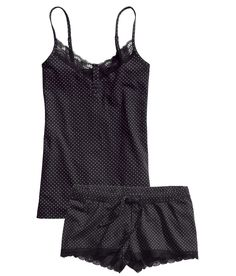 Soft black polka-dot pajama set with spaghetti strap top and elastic shorts. | H&M Nightwear