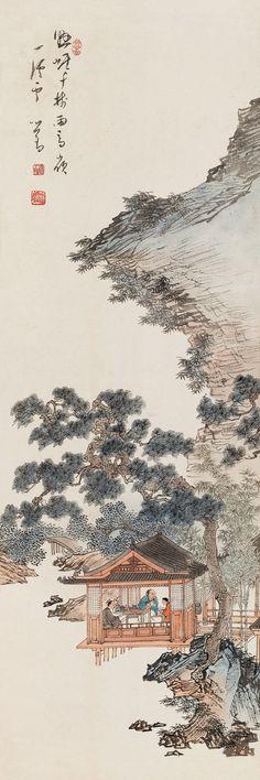 Pu Ru(b. 1896~1963) STREAN IN SNOW Hanging scroll; ink and colour on paper. 溥儒(b. 1896~1963) 商嶺溪雪圖 立軸 設色紙本  100 x 33 cm. 39 3/8 x 13 in. 約3.0平尺  鈐印:舊王孫、溥儒、松巢客 題識:懸崖千樹雨,高嶺一溪雲。心畬。