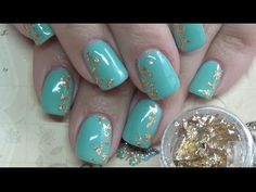 Foil Nails: Teal / Mint & Gold Nail Tutorial - YouTube