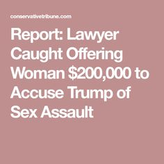 Report: Lawyer Caught Offering Woman $200,000 to Accuse Trump of Sex Assault