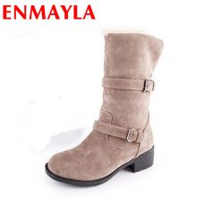 57.26$  Watch now - http://aliwso.worldwells.pw/go.php?t=1504337236 - ENMAYLA Flock Mid-Calf Slip-On Buckle Round Toe Square Heels 4 Colors Women Shoes New Fashion Style Winter Warm Women Boots