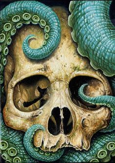 Tentacle skull by Voss Fineart (octopus) Le Kraken, Motif Art Deco, Skull Print, Skull And Bones, Art And Illustration, Graphic, Dark Art, Crane, Fantasy Art