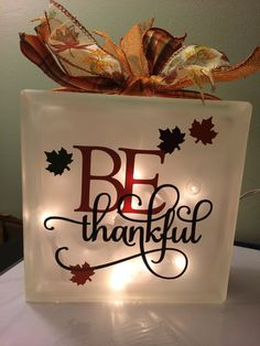 Glass Block Be Thankful by PBCreativeDesigns on Etsy